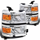 2014-2016 Chevy Silverado 1500 2500 3500 HD Replacement Crystal Headlights - Chrome