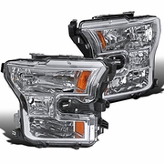 2015-16 Ford F150 Pickup Crystal Replace Headlights - Chrome