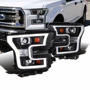 2015+ Ford F-150 LED DRL Projector Headlights - Black