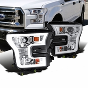 2015+ Ford F-150 LED DRL Projector Headlights - Chrome