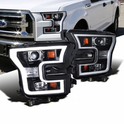 2015+ Ford F-150 LED DRL Projector Headlights - Gloss Black