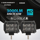 "2x 30w 4"" Osram LED Work Light Bar Spot Beam Off-Road 4WD UTE SUV Fog Driving Lamp"