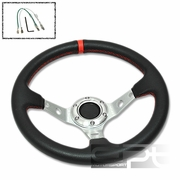 """320MM 3"""" DEEP DISH 6 HOLE BLACK/SILVER STEEL STEERING WHEEL RED STITCHING + HORN"""