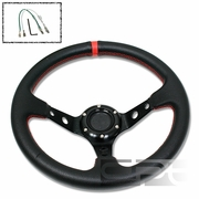 """320MM 3"""" DEEP DISH 6 HOLE BLACK SPORT STEERING WHEEL RED STITCHING + HORN BUTTON"""