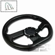 320MM 6-HOLE ALUMINUM RACING STEERING WHEEL FULL BLACK PVC LEATHER + HORN BUTTON