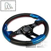 320MM 6-HOLE RACING STEERING WHEEL BLACK PVC LEATHER RED STITCH BLUE TRIM + HORN