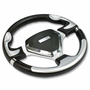 320MM 6-HOLE RACING STEERING WHEEL BLACK PVC LEATHER SILVER SHIELD + HORN BUTTON