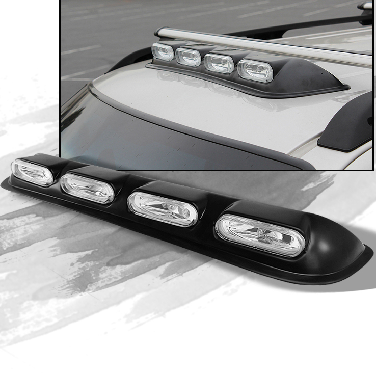 4x4 Off Road Rooftop Clear Halogen Fog Lights Bar Completed Kit W Switch Wiring