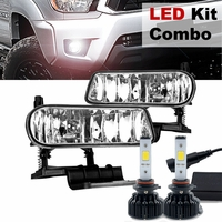 60W LED Kit + 99-02 Chevy Silverado / Suburban / Tahoe OEM Crystal Replacement Fog Lights - Clear