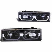 88-98 Chevy Full Size C/K / Tahoe / Suburban / Yukon U-Bar Crystal Headlights - Black