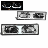 88-98 Chevy Full Size C/K / Tahoe / Suburban / Yukon U-Bar Crystal Headlights - Chrome
