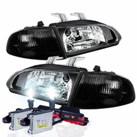 92-95 Honda Civic 2/3DR JDM Black Crystal Headlights Set + HID Kit