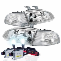 92-95 Honda Civic 2/3DR JDM Chrome Clear Crystal Headlights Set + HID Kit
