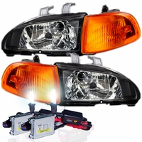 92-95 Honda Civic EG 2/3DR JDM Crystal Headlights + Corner - Black + HID KIT