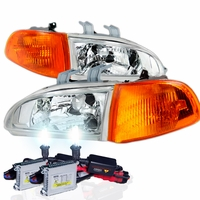 92-95 HONDA CIVIC JDM CHROME CRYSTAL HEADLIGHTS + CORNER + HID KIT