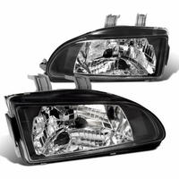 92-95 Honda Civic JDM Crystal Headlights - Black