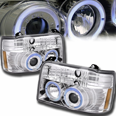 92-96 Ford F150 Dual Halo Angel Eye Projector Headlights - Chrome