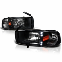 94-01 Dodge Ram 1-PC Euro Style LED Crystal Headlights - Black
