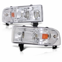 94-01 Dodge Ram 1-PC Euro Style LED Crystal Headlights - Chrome