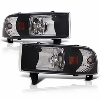 94-01 Dodge Ram 1500 2500 3500 Black 1PC Crystal Headlights
