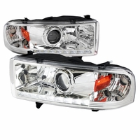 94-01 Dodge RAM 1500 2500 3500 Retrofit Style LED DRL Projector Headlights - Chrome