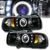 94-01 Dodge Ram Pickup 1500 2500 3500 Angel Eye Halo & LED Projector Headlights - Black