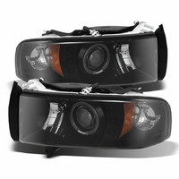 94-01 Dodge Ram Pickup 1500 2500 3500 Angel Eye Halo & LED Projector Headlights - Black Smoked