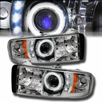 94-01 Dodge Ram Pickup 1500 2500 3500 Angel Eye Halo & LED Projector Headlights - Chrome