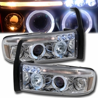 94-01 Dodge Ram Pickup 1PC Angel Eye Halo Projector Headlights - Chrome 2LHP-RAM94-TM
