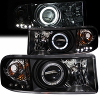 94-01 Dodge Ram Pickup CCFL Angel Eye Halo Projector Headlights - Black