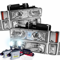 94-98 Chevy C10 / Silverado / Suburban / Tahoe 8 Piece Projector Headlights + HID Kit - Chrome
