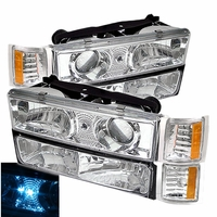 94-98 Chevy Silverado / GMC C10 Pickup Truck 8 Piece Combo Projector Headlights & Bumper / Corner Lens- Chrome