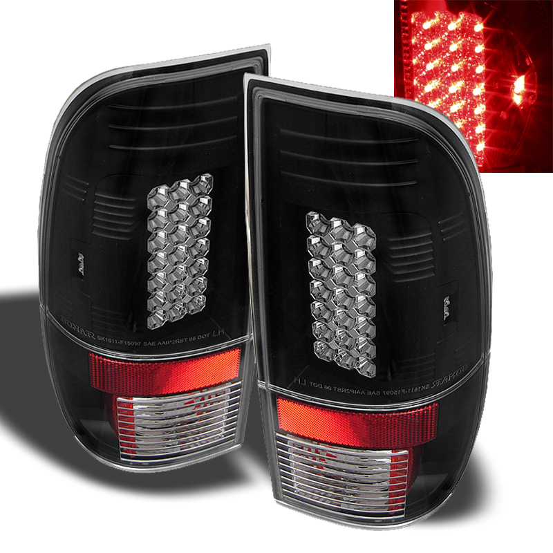 97 03 ford f150 99 07 superduty led tail lights black. Black Bedroom Furniture Sets. Home Design Ideas