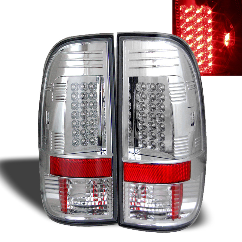 97 03 ford f150 99 07 superduty led tail lights chrome. Black Bedroom Furniture Sets. Home Design Ideas