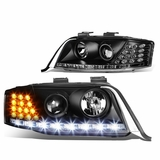 98-01 Audi A6 [Halogen Model] LED DRL / Signal Projector Headlights - Black