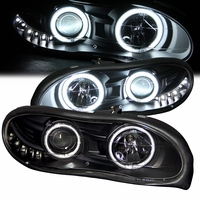 98-02 Chevy Camaro Dual CCFL Angel Eye Halo & LED DRL Projector Headlights - Black