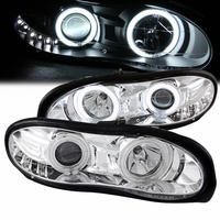 98-02 Chevy Camaro Dual CCFL Angel Eye Halo & LED DRL Projector Headlights - Chrome