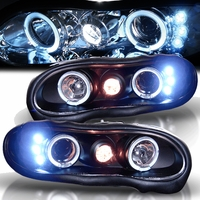 98-02 Chevy Camaro Angel Eye Halo & LED Projector Headlights - Black
