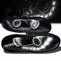 98-02 Chevy Camaro R8 Style LED Strip Projector Headlights - Black