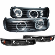 99-00 Chevy Silverado / 00-06 Suburban Tahoe Angel Eye Halo LED Projector Headlights + Bumper Lens - Black