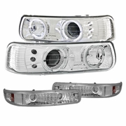 99-00 Chevy Silverado / 00-06 Suburban Tahoe Angel Eye Halo LED Projector Headlights + Bumper Lens - Chrome