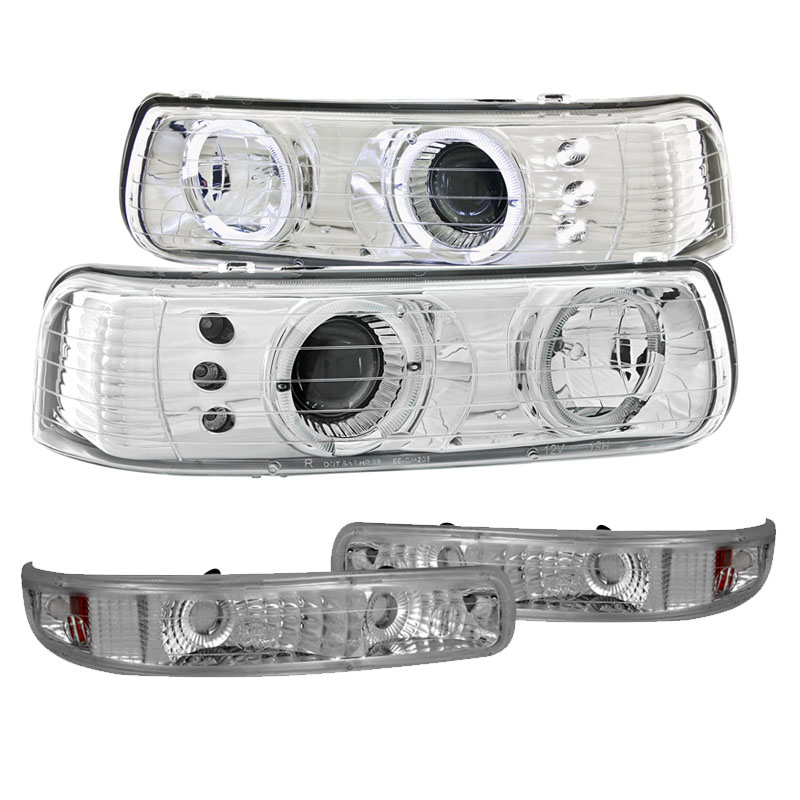 99 00 chevy silverado 00 06 suburban tahoe eye halo led projector headlights bumper