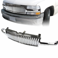 99-02 Chevy Silverado / 00-05 Chevy Tahoe / Suburban Vertical VIP Badge-less Front Grill - Chrome