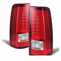 99-02 Chevy Silverado / GMC Sierra LED Tube Tail Lights - Red Clear