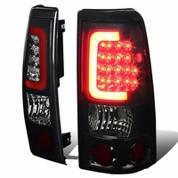 99-02 Chevy Silverado / GMC Sierra Pair of 3D LED Tail Brake Lights (Chrome Housing Smoked Lens)
