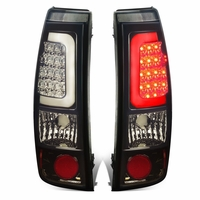 99-02 Chevy Silverado / GMC Sierra Pair of Chrome Housing Smoked Lens 3D LED Brake Tail Lights
