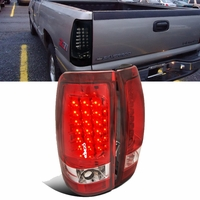 99-02 Chevy Silverado Pickup Euro LED Tail Lights - Red / Clear
