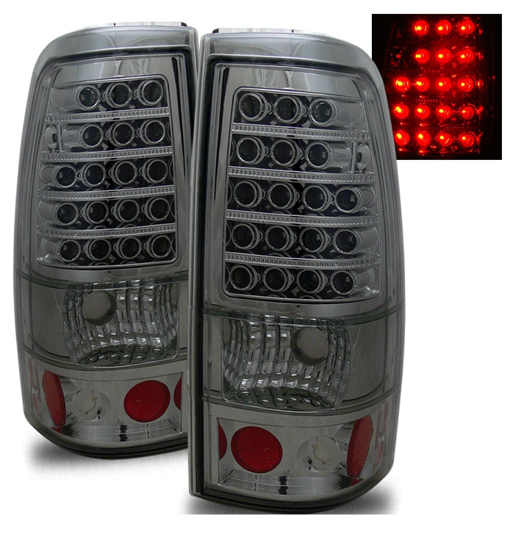 99 02 chevy silverado sierra euro led tail lights smoked. Black Bedroom Furniture Sets. Home Design Ideas