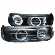 99-02 Chevy Silverado / Suburban / Tahoe Angel Eye Halo LED Projector Headlights - Black