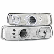 99-02 Chevy Silverado / Suburban / Tahoe Angel Eye Halo LED Projector Headlights - Chrome